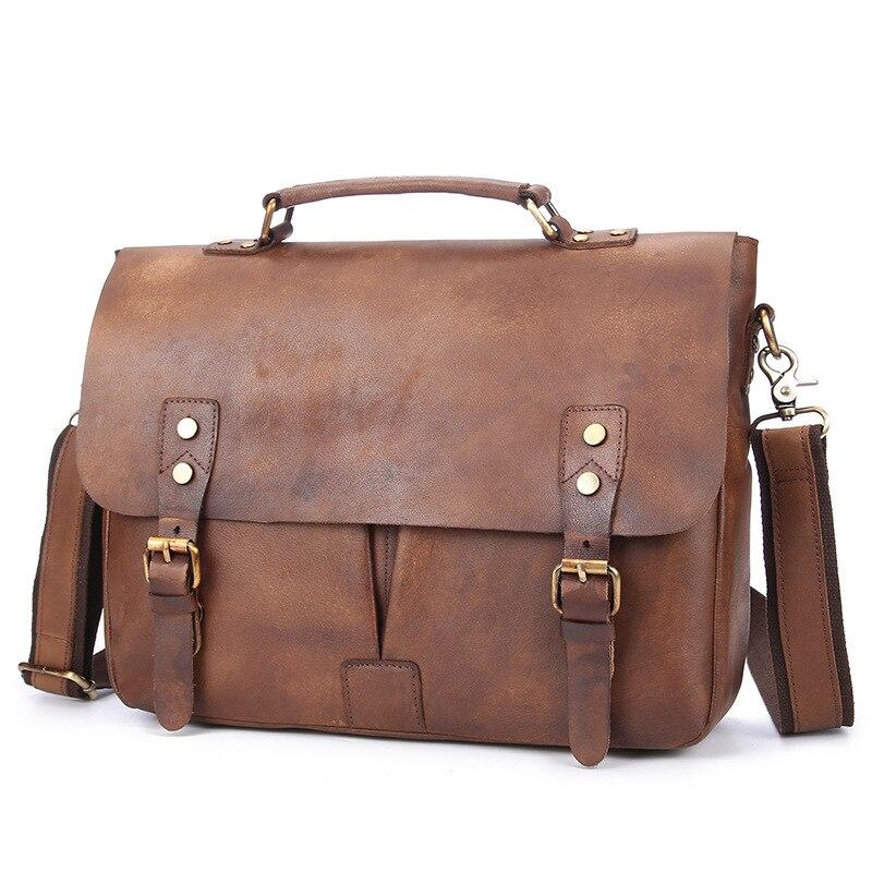 Vintage Handbag Men Vegetable Tanned Genuine Leather Handmade Men's Laptop Bags Briefcase Casual Messenger Shoulder Bags For Men