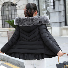2018 New Fashion Women Winter Coat Hooded Thickening Long sleeve Jacket Larger Fur Collar Cotton Padded Jackets and Coats Female