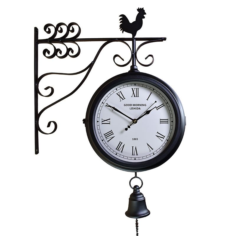 Wrought iron mute compound clock European retro, craft double sided wall clock antique clock 3