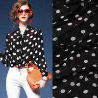 black dot white dot print imitate silk chiffon fabric, soft chiffon thin fabric for dress,blouse dress chiffon clothing tissue