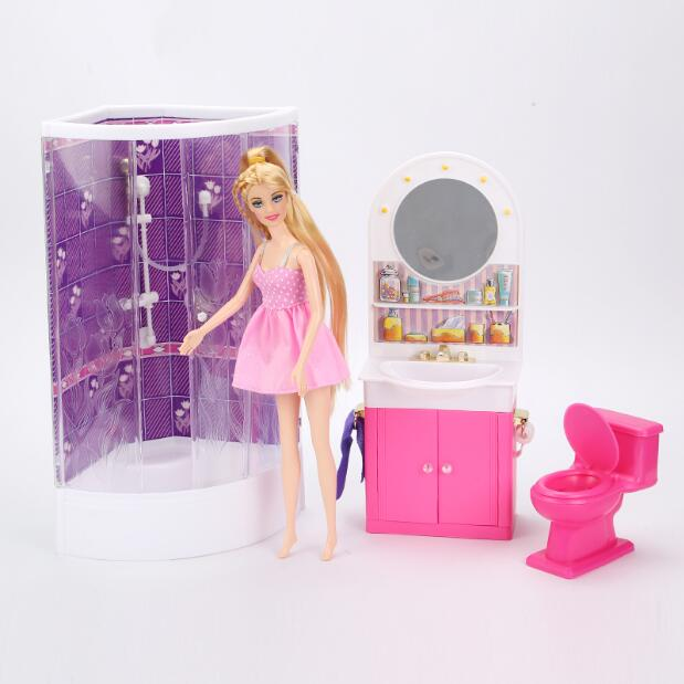 Princess Furniture For Barbie Doll House Barbie Bathroom Dollhouse Accessories Compositions Containing Shower Toilet Grooming