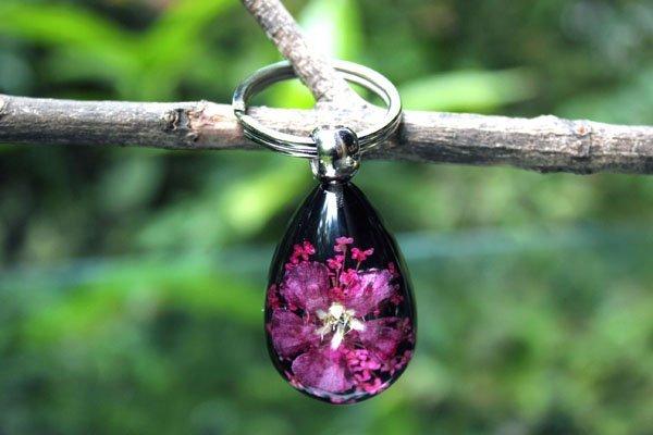 Womens Jewellery Pink Flower Amber Key Rings Keyholder Christmas Gift Tourism Souvenir 50pcs Mixed Lot Free Shipping