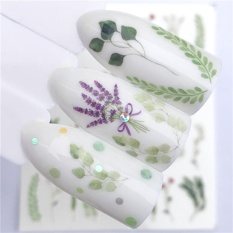 YZWLE Brand New 1 PC Green Grass Water Transfer Sticker Nail Art Decals DIY Fashion Wraps Tips Manicure Tools