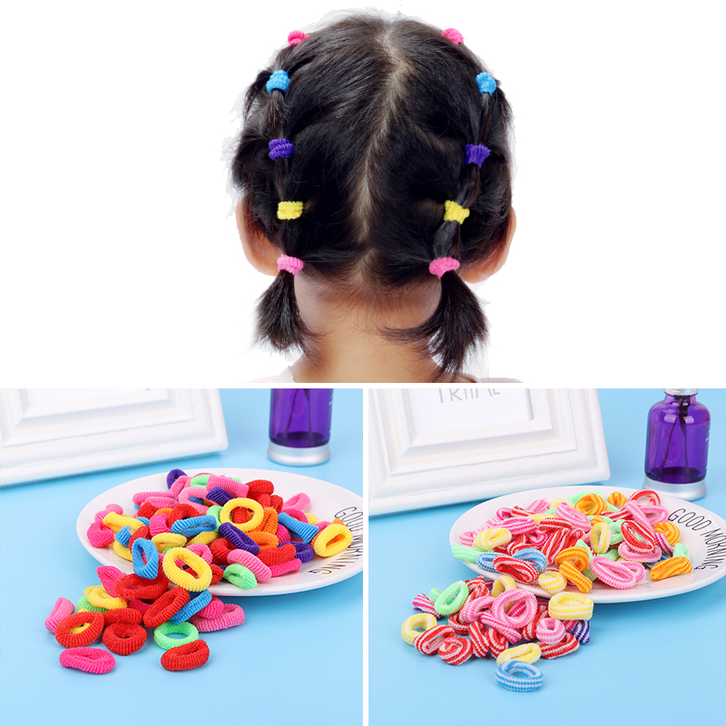 Wholesale 100 Pcs Colorful Child Kids Hair Holders Hairband Cute Rubber Hair Band Elastic Accessories Girl Charms Headwear Drop