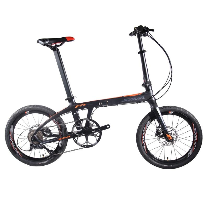 SAVA Folding Bike Adult Folding Bicycle 20 inch Carbon Fiber Bike Foldable Mini Carbon City Bike Folding bicwith SHIMANO SORA 9s