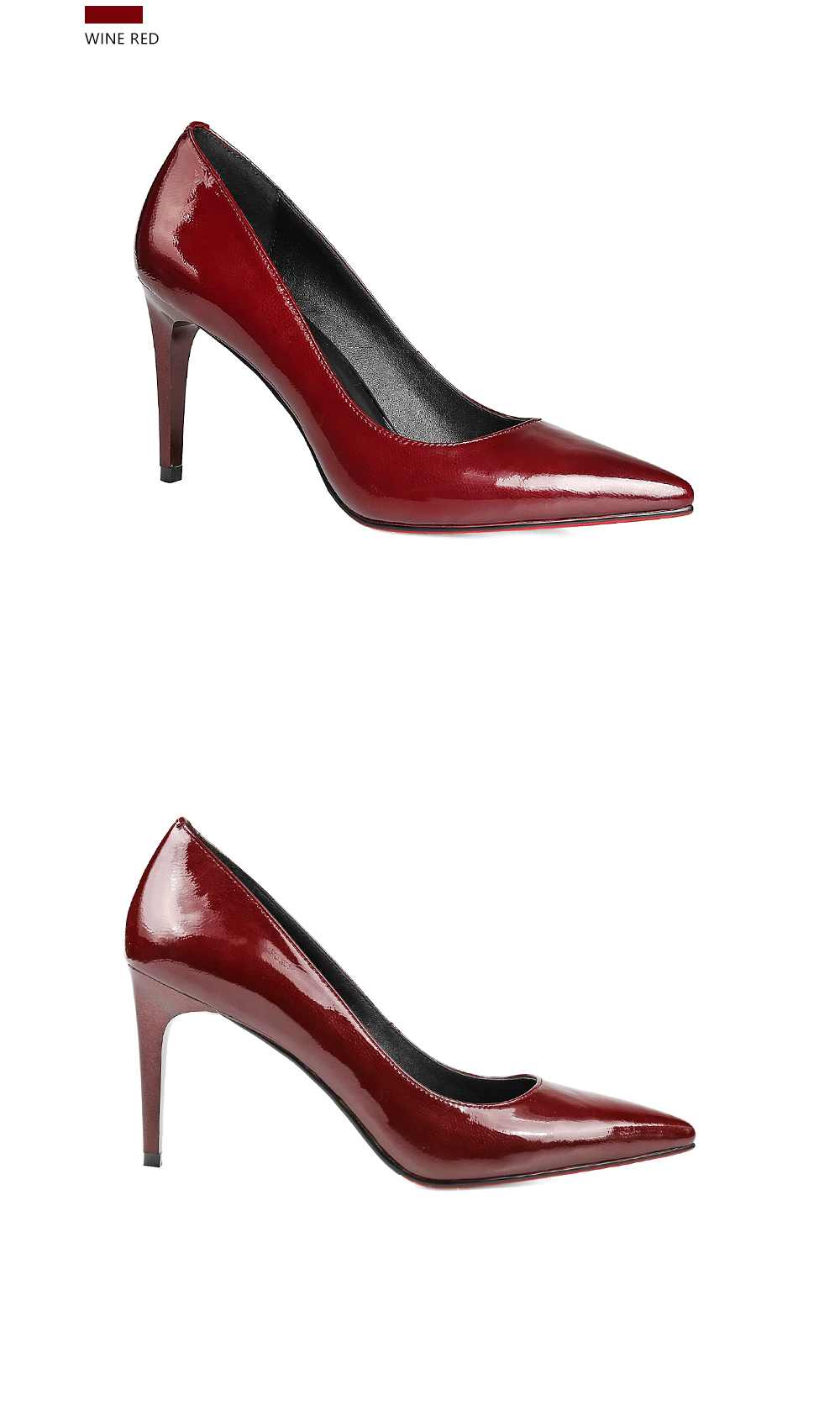 SOPHITINA Elegant Pumps Bordeaux Patent Leather Thin Heels Pointed ... 737a44067f35