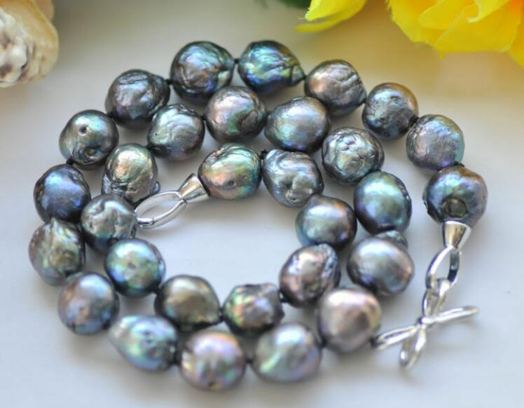 11 13 мм натуральный барочный таитянские черные синее Жемчужное ожерелье 18 36