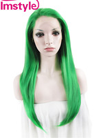 Imstyle Straight Synthetic Green 24 Inches lace front cosplay wigs for black women