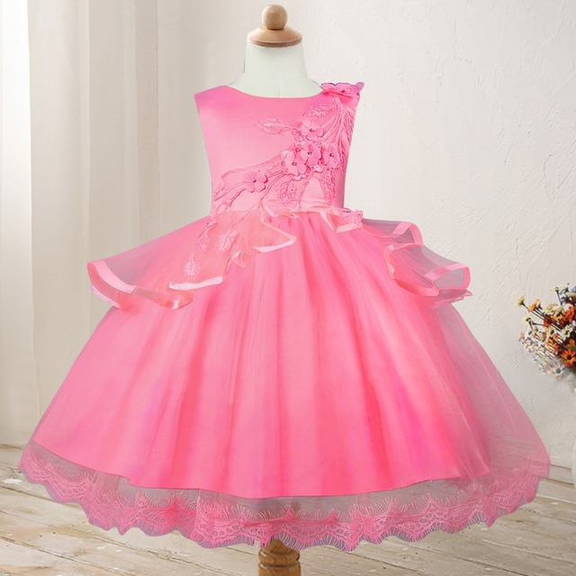 Children S Lace Flower Ball Gown Princess Wedding Party Dress Birthday Kids Tutu Long Style Dresses