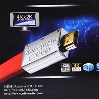 Ult-unir HDMI 2.0 versión macho a Macho 19 + 1 estándar estañado caja de metal de cobre 4 K TV plana línea de HD hdmi línea roja color