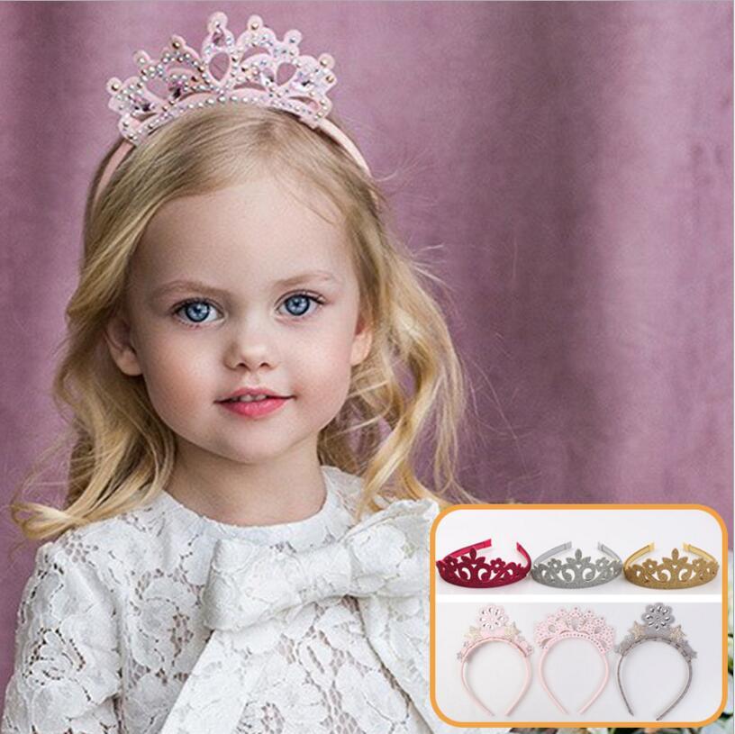 Costume tiara princess crown head hoop party hair accessories for girls kids rhinestone pearl flower star hairband   headwear