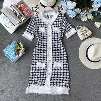 Taotrees Woman Vintage Dress Short Sleeve Knitted Dresses