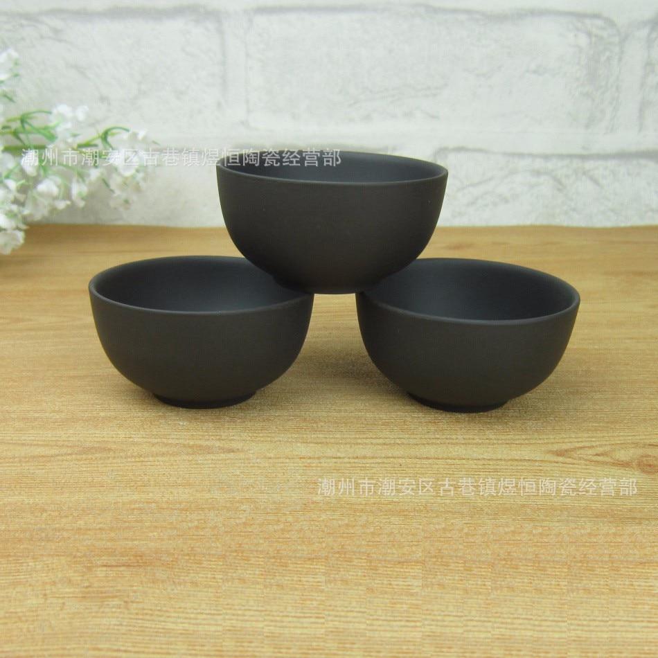 3 Pcs Purple Clay Ceramic Tea Cup Set 60ml Big Capacity Black Teacup Cups Teacups Kung Fu A+ Quality Porcelain Gift