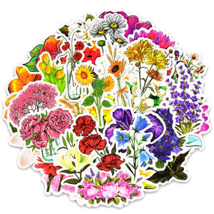 Image 1 - 50pcs spring flower stickers vinyl laptop skin plant floral sticker refrigerator suitcase sticker for MacBook Air Pro Retina/HP