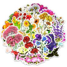 Adesivos floral para macbook air pro, 50 peças adesivos de flor de vinil para laptop pele de planta floral adesivo da geladeira da mala adesivo para macbook ar pro retina/hp