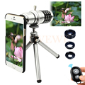 2017 Kit de Câmera Lentes 12x Zoom Telefoto Telescópio Lente Macro Grande Angular lentes olho de peixe para iphone 6 6 s 7 plus 5 5S 4 s samsung