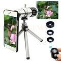 2017 Kit de Lentes de La Cámara 12x Zoom Telescopio Teleobjetivo Macro Gran Angular lentes de ojo de pez para iphone 6 6 s 7 plus 5 5S 4 s samsung