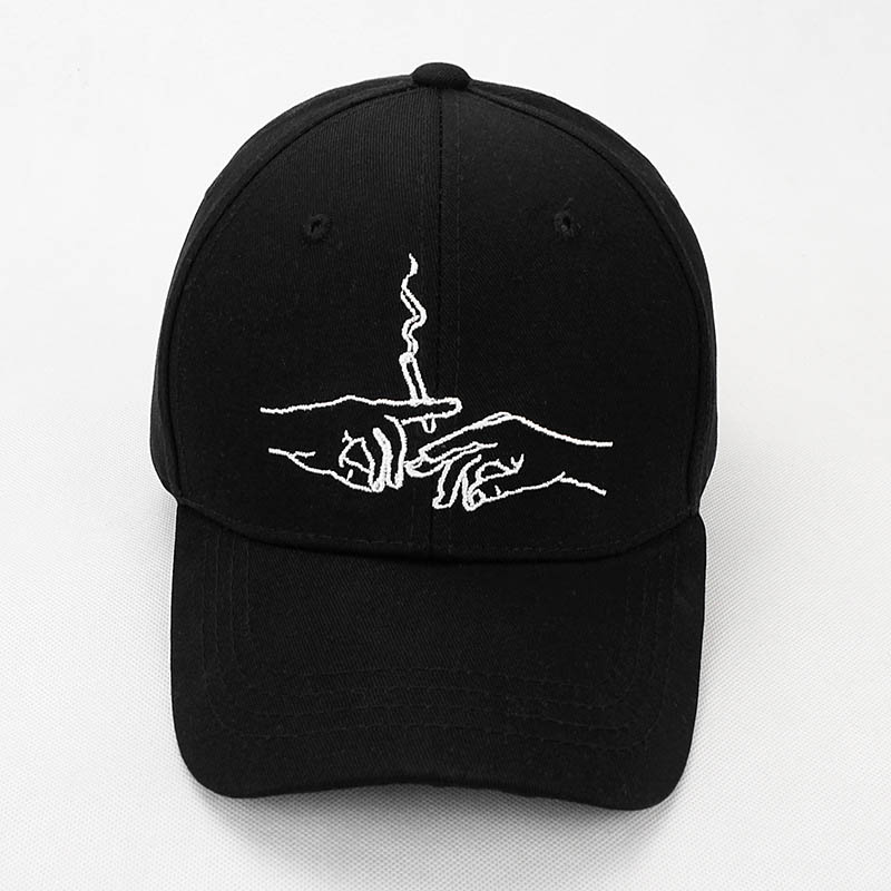 3998a63242c 2017 New Brand Smoke Baseball Cap Dad Hat For Men Women Embroidery Hands  Smoke Pattern Trucker Cap Weed Bone ...