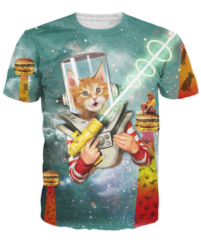 Space Kittens and Burgers T Shirt laser beams cheeseburgers and