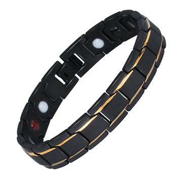 Black 316L Stainless Steel Men's Magnetic Health Bracelets & Bangles
