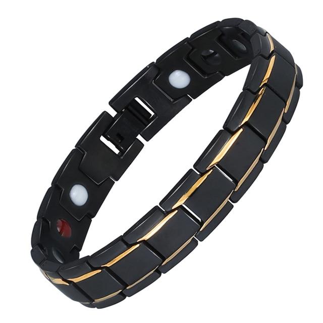 Black 316L Stainless Steel Men's Magnetic Health Bracelets & Bangles
