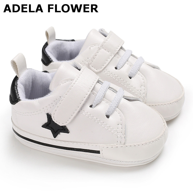 Adela Flower Kids Shoes for Boys Girl Children Casual Sneakers White PU Leather Newborn Baby Girl Sports Shoes bebek ayakkabi