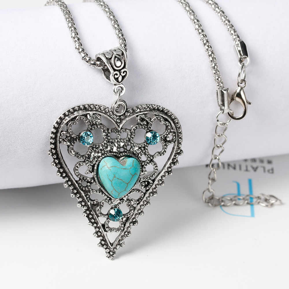 8 сезонов женщин новое ожерелье из богемиума попкорн цепь, античное серебро искусственный Малахит зеленый Сердце Камень 47,5 см длинные 1 шт