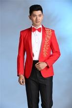 Latest Coat Pant Designs Red Blue Pattern Performaance Men Suit Slim Fit 2 Piece Cheap Show Blazer Costume Stage Tuxedo Vestidos