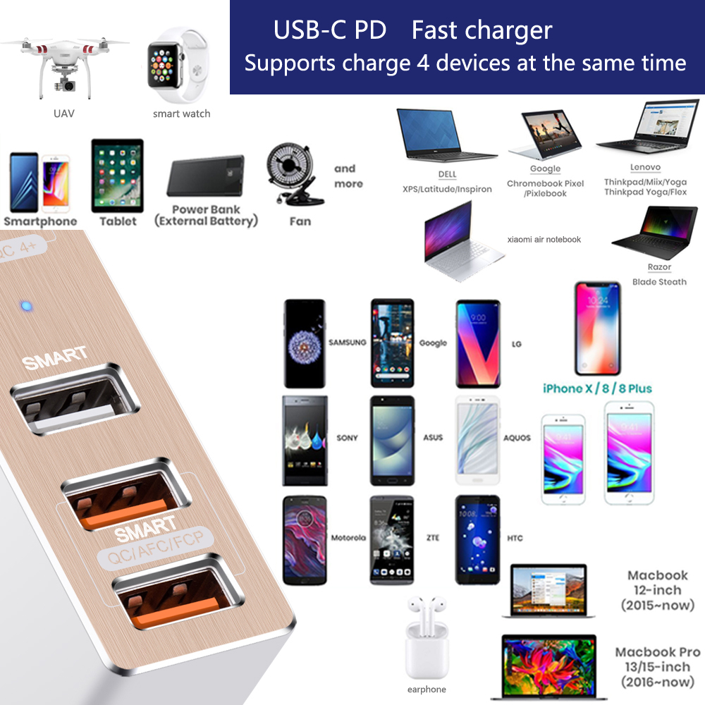 USB C Type C PD3 0 QC4 Charger 87W 4 Ports Travel Smart Desktop Charger for laptop and phone fit for 45w 61w 65w and more in Laptop Adapter from Computer Office