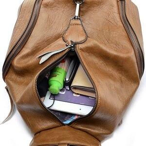 Image 4 - Женский кожаный рюкзак, винтажный повседневный рюкзак высокого качества, 2019