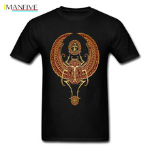 T Shirt 3D Men Black Tshirt Red Winged Egyptian Scarab With Ankh Tops & Tees Graphic Clothes Cotton No Fade Printed