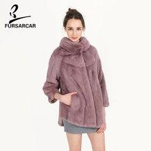FURSARCAR Pink Color Mink Fur Coat Real Full Pelt Mink Fur Thick Warm Fur Short Slim Style Solid Coat Women Winter Coat BF-C0487