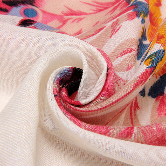 Peacock Feather White Scarf | Lightweight Scarves