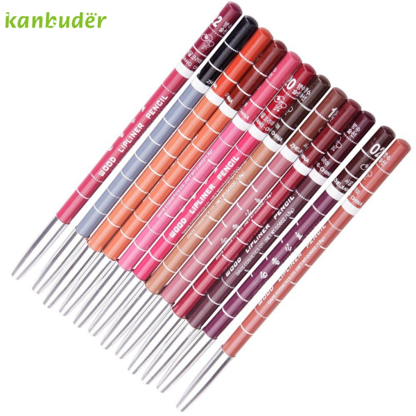 Pretty Kanbuder Good Quality Women Beauty 12pcs Womens Professional Makeup Lipliner Waterproof Lip Liner Pencil Set