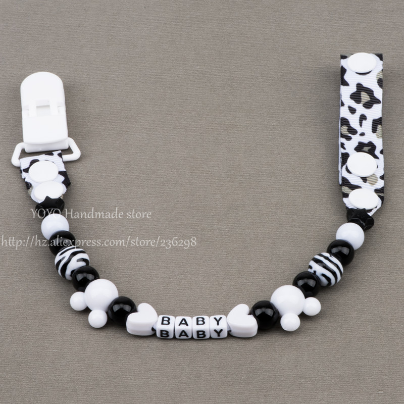 Personalised -Any name Hand made black white ribbon with zebra beads dummy clip pacifier holder pacifier clips soother chain