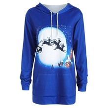 Christmas Pullover Women Clothing Causal Autumn Fashion Winter Hoody Print Long Sleeve Plus Size Women Hoodies