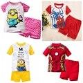Nuevo verano Del Bebé Pijamas Despicable me minion Ternos Pijamas Pijamas de Los Niños Muchachas de la Historieta Pijamas Niños Clothing set