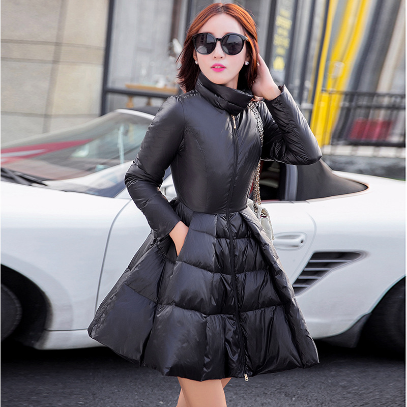 European Style Brand Women Winter Coat And Jackets Thick Warm White Duck Down Padded Light Slim