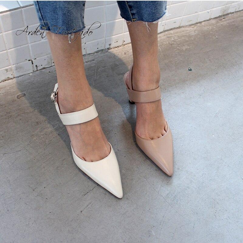 Arden Furtado 2019 letnie buty na wysokim obcasie szpilki pointed toe sandały muły klamry pasek z prawdziwej skóry singback buty damskie buty w Wysokie obcasy od Buty na  Grupa 1
