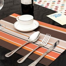 Fashion PVC placemats insulation pad chromatic stripe mat 45*30cm free shipping