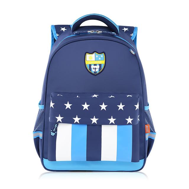 2017 nuevo estilo coreano mochilas escolares para niños mochila escolar oscuro raya azul niños mochila niños bolsa de star bolso de la pluma caja de lápices