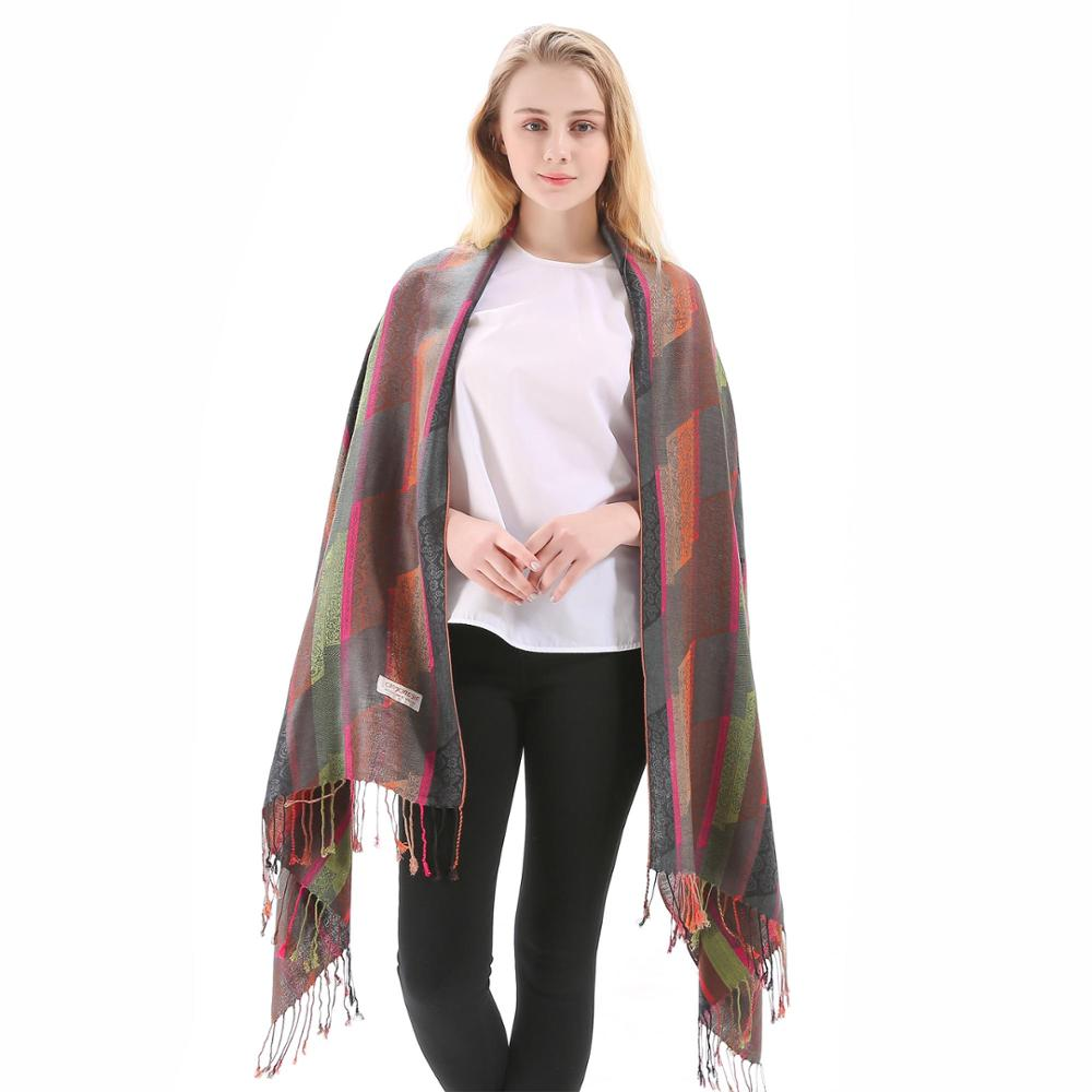 Pashmina Silk Shawl Paisley Stripes   Scarf     Wrap   Hijab Stole Autumn Spring Winter Soft Long Gift Cashmere Warm Top Quality Gray