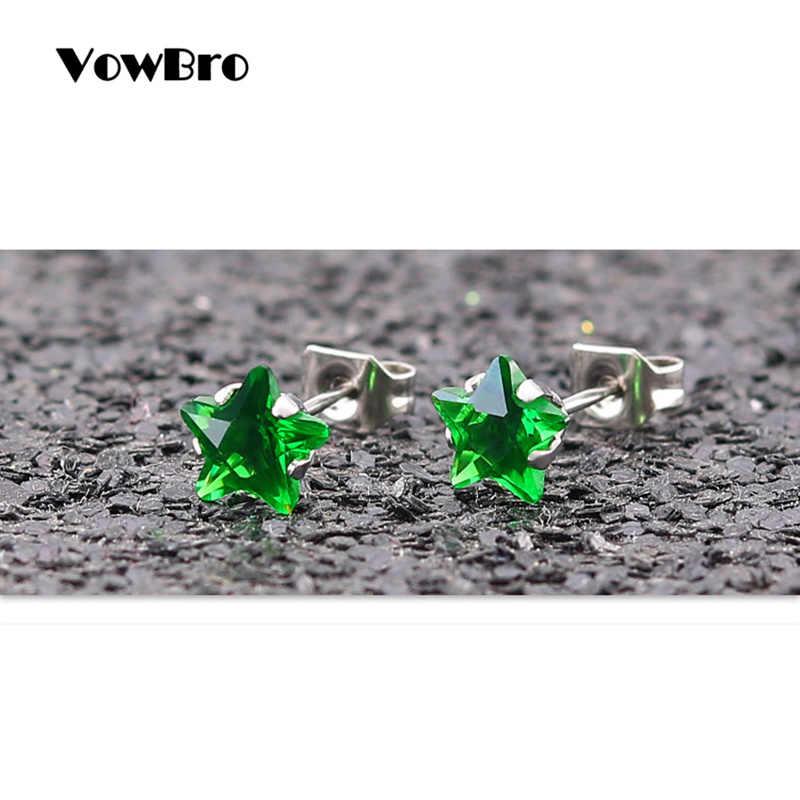 VowBro 316 ze stali nierdzewnej połysk AAA CZ 4-8 MM średnica zielona gwiazda stadniny kolczyki dla kobiet wysokiej jakości marka biżuteria