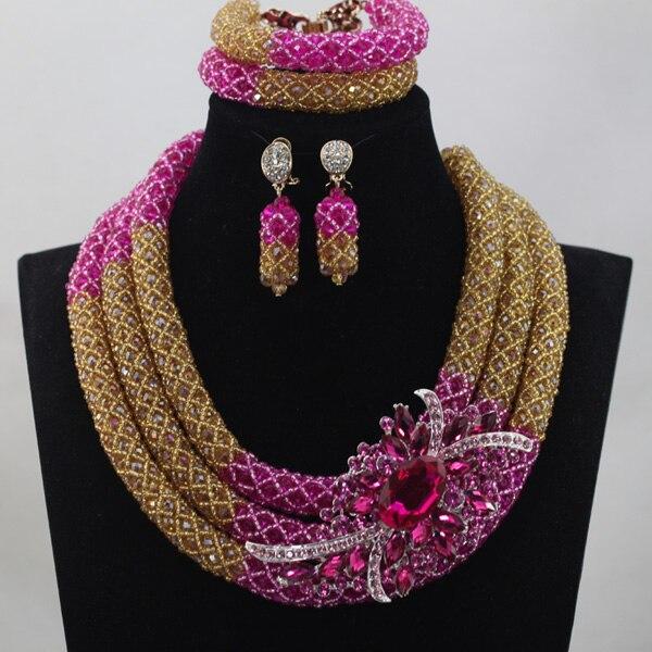 2017 Hot Splendid Fuchsia Pink Nigerian Wedding Jewelry Set Indian Bride Gift Costume Celebration Jewelry Set Free ShipABL831