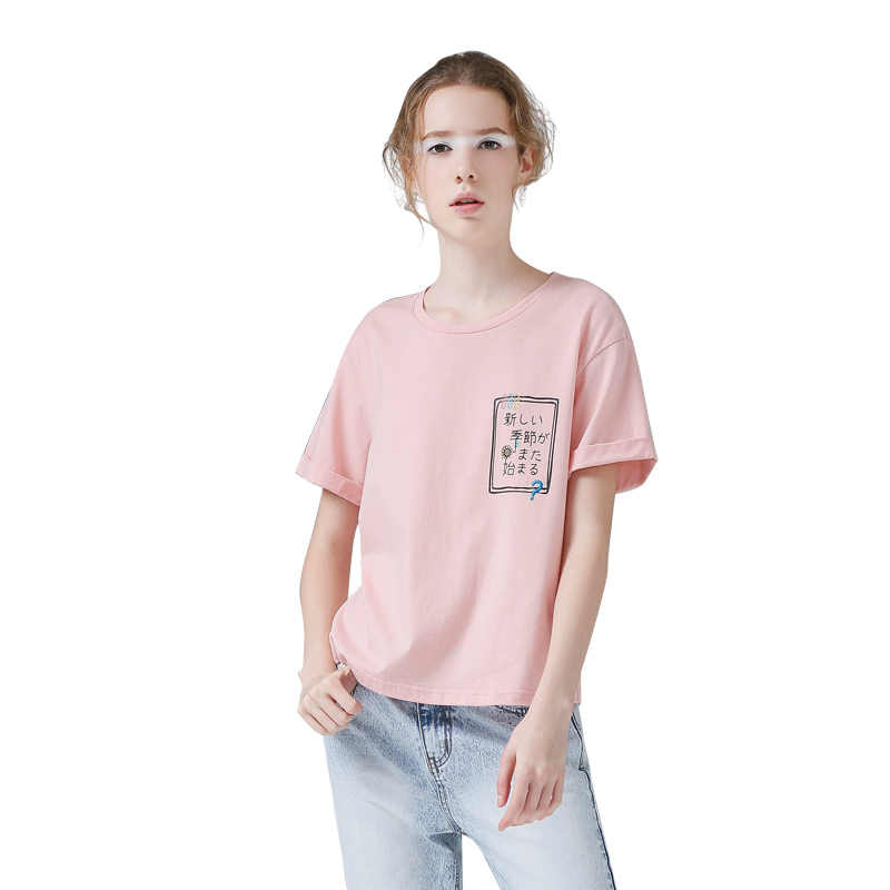 Toyouth Harajuku Gedrukt Japanse Zomer Tees Casual Vrouwen Solid Korte Mouw T-Shirt All-Match Roze Wit T-Shirts Vrouwelijke Tops