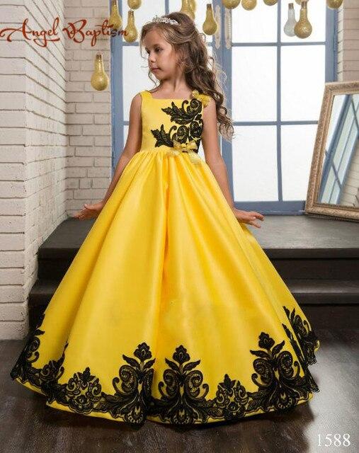 Luxus Gelbe blume mädchen mit schwarzer spitze appliques Dubai ...