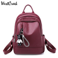 WESTCREEK Brand Fashion PU Leather Solid Small Backpack Women College Bag for Girls Anti theft Laptop Travel Daypack Backpacks