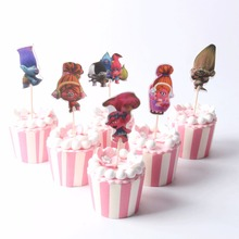 24pcs Cartoon Trolls Poppy Suki Guy Diamond Branch candy bar cupcake toppers pick baby shower kids birthday party supplies 6pcs lot trolls poppy branch biggie action figure toys cartoon moive brinquedos dreamworks trolls hug time poppy figure doll toy