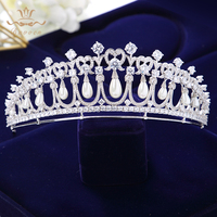 Royal Princess Pearls Brides Crowns Headpiece Zircon Crystal Wedding Tiaras Hairbands Evening Dress Hair Jewelry