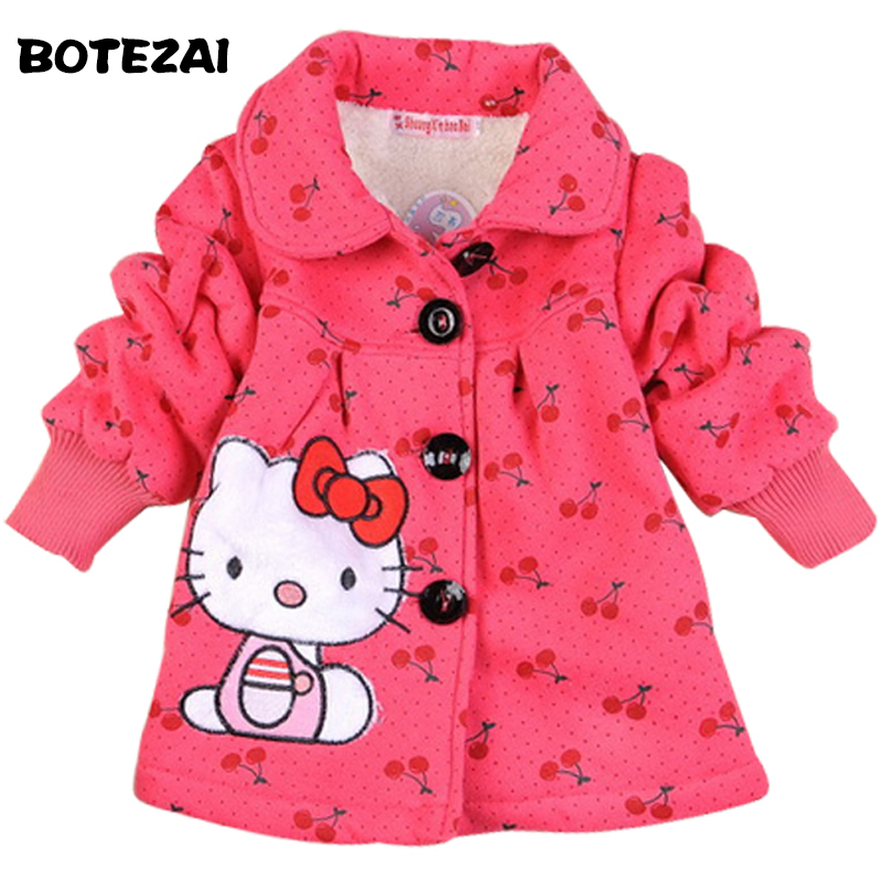 In stock! 2017 Fashion Children's coats girls Hello Kitty winter warm coat children cotton jacket thick cotton-padded clothes цена